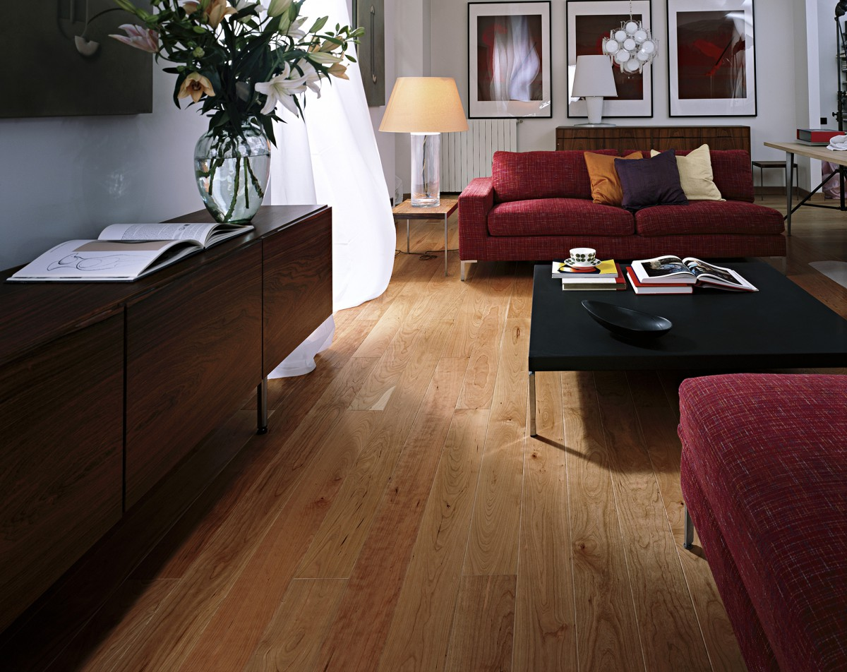 Kahrs cherry kentucky 1 strip satin lacquer finish for Kahrs flooring